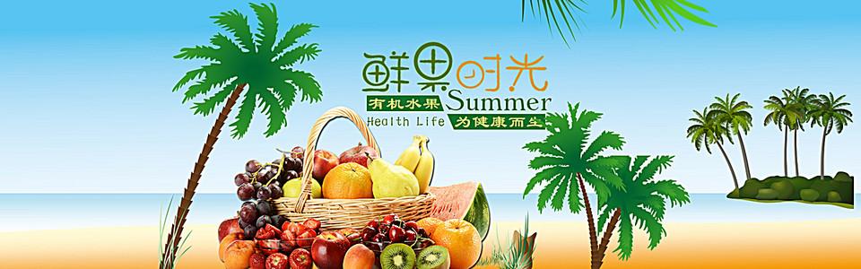 水果新鲜海边椰树小岛背景banner
