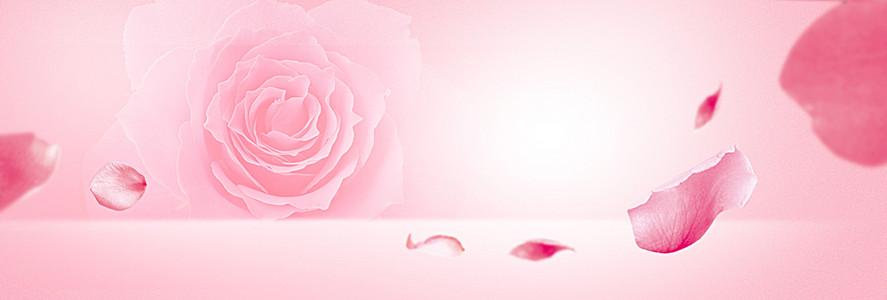 珠宝粉色玫瑰花开浪漫banner