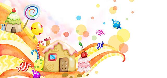 房子糖果插画背景