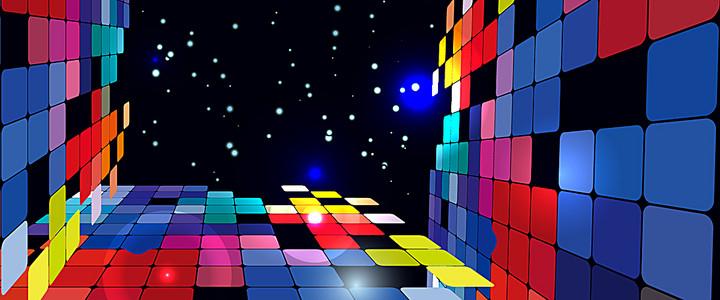 多彩格子方块元素背景