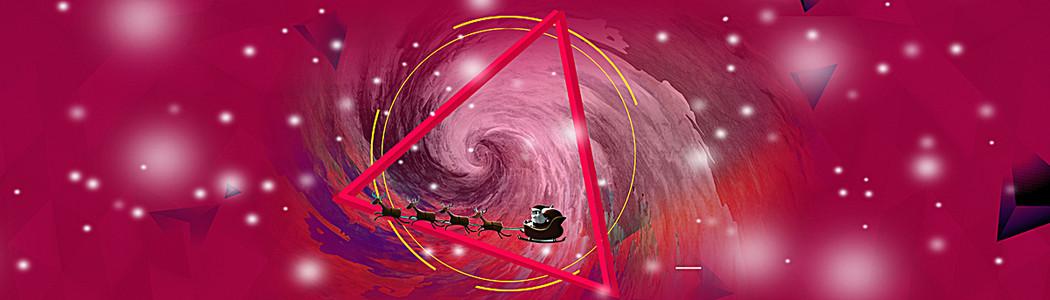 红色大气几何圣诞节背景海报