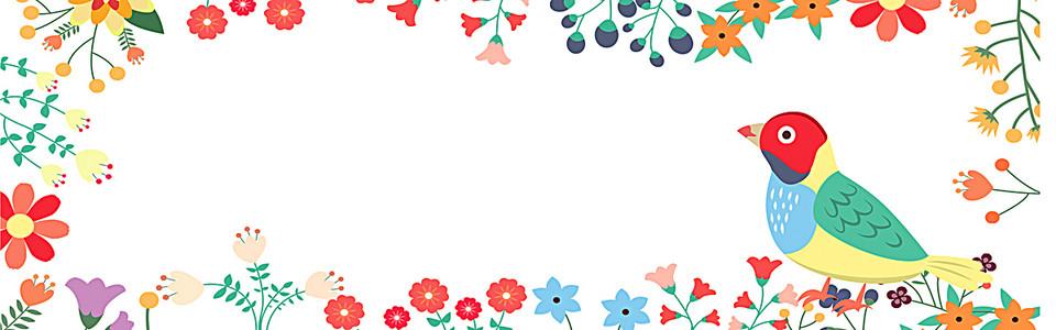 唯美花边花瓣边框鸟背景banner