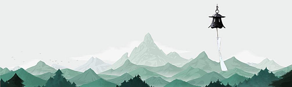 日本富士山风铃淘宝背景