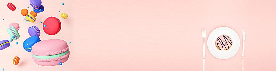 甜蜜粉红马卡龙甜甜圈食品banner背景