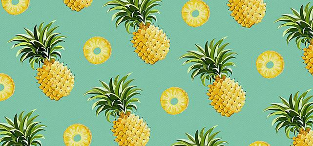 手绘菠萝背景图