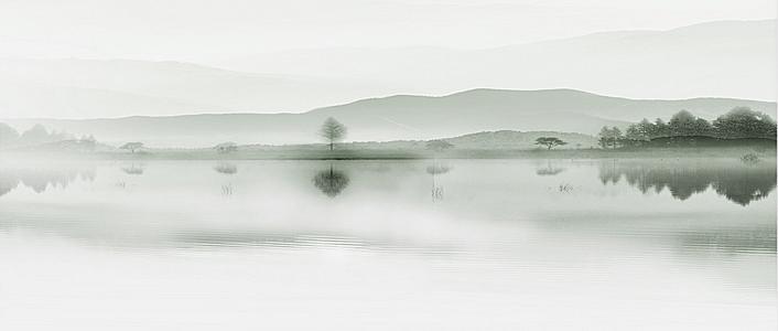 水墨古风湖面倒影文艺风光背景图