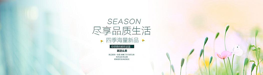 淘宝清新女装夏装春装秋装服装绿色背景banner