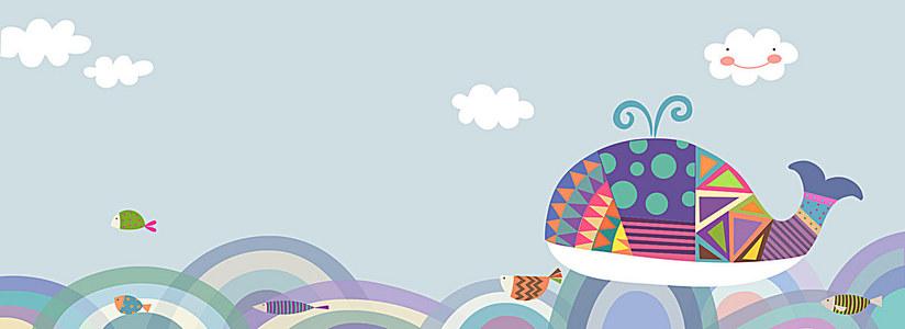 卡通儿童母婴鲸鱼海洋小鱼儿童画白云质感背景