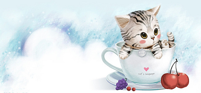 手绘猫咪咖啡杯背景图