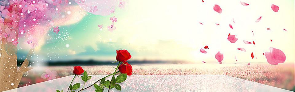 粉色漂浮花瓣背景