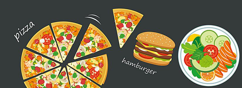 插画披萨美食背景