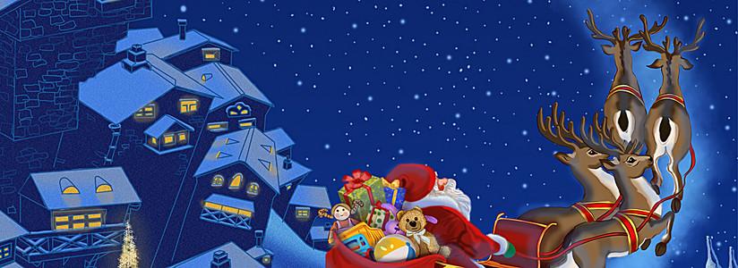 圣诞节圣诞老人送礼物背景