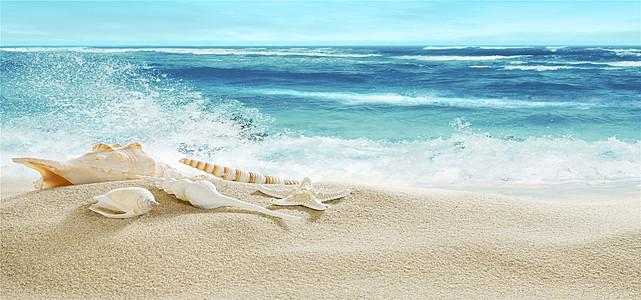 浪花海边美丽风光背景