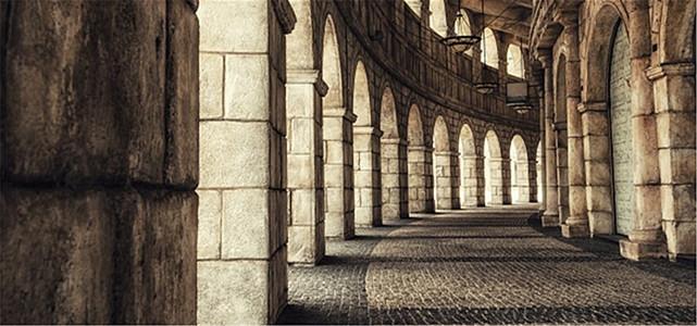 欧式长廊背景