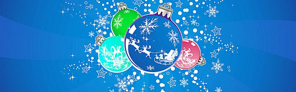 蓝色圣诞礼物球背景