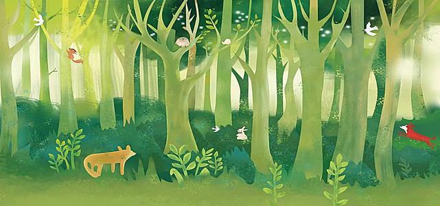 手绘绿色森林背景