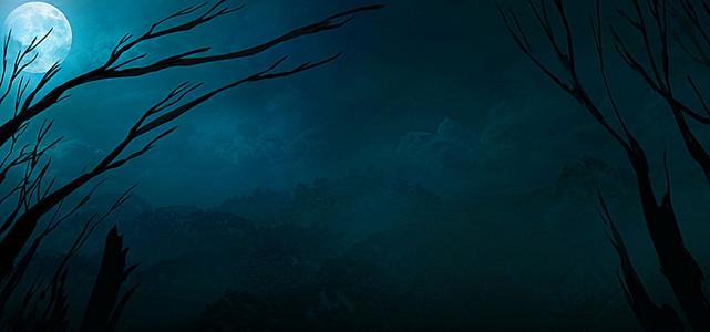 满月的阴森的夜晚