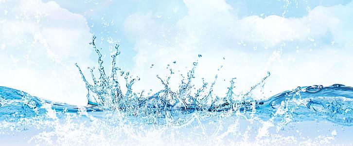 蓝色夏季清凉水花背景