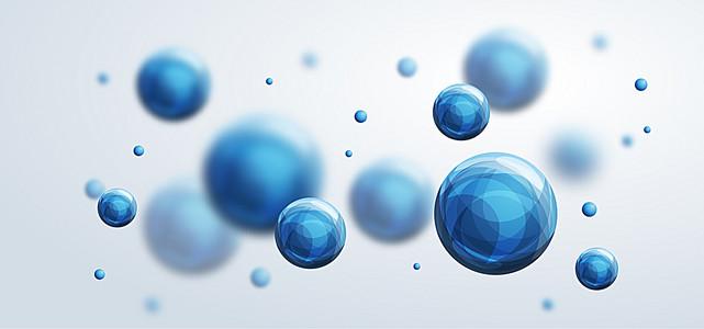 蓝色立体圆球商务背景