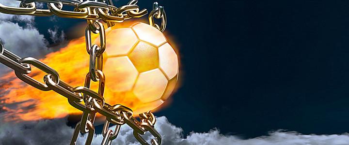 足球 火焰 铁链 黑色 天空 云彩