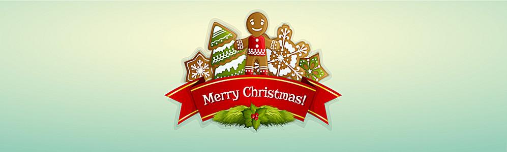 精美丝带圣诞装饰标签背景banner