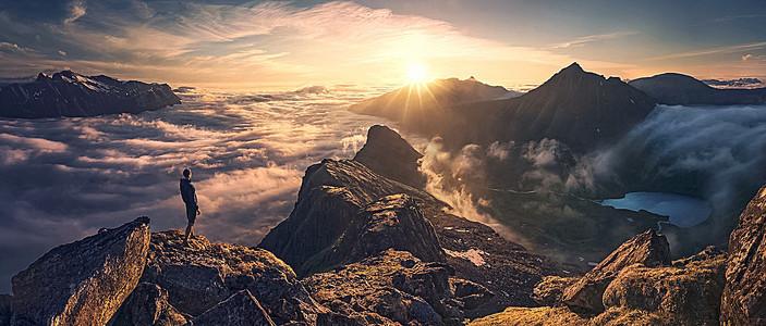 摄影远山日照背景