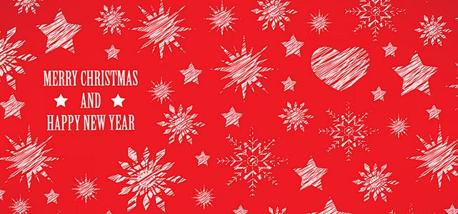 红色手绘圣诞背景图
