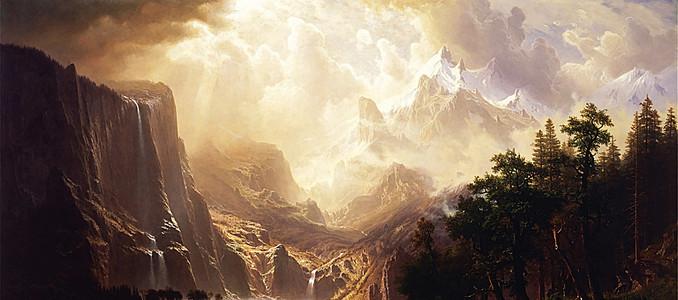 油画质感古风云雾山背景