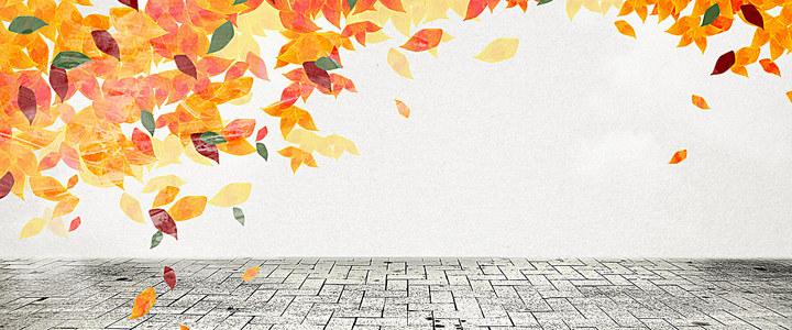 秋季手绘漂浮红叶背景