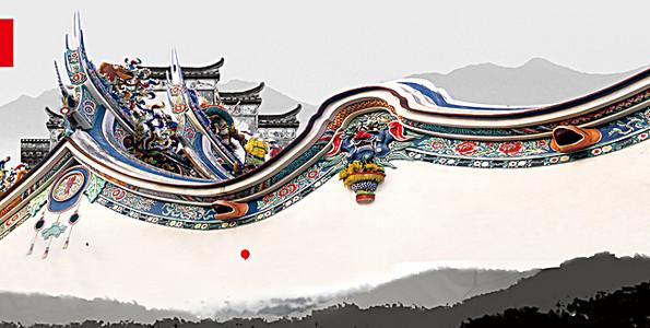 中国风民族图腾墙壁背景