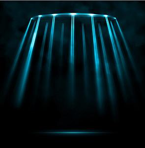 科幻黑底蓝色光线背景
