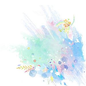 简约手绘喷雾花朵五彩水彩喷绘印刷背景