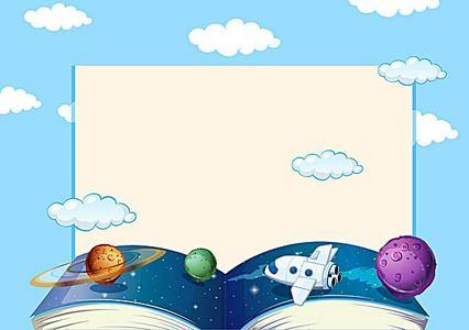 矢量卡通儿童教育太空展板背景