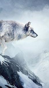 雪山野狼H5背景