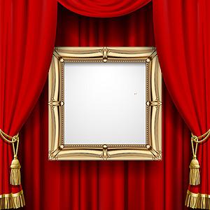 金边相框红色幕布背景