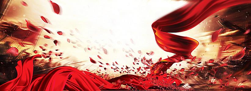 红绸banner背景