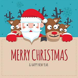 可爱圣诞老人小狗雪花