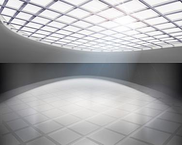 简约圆形玻璃窗背景素材