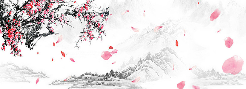 红色水墨梅花群山淘宝背景