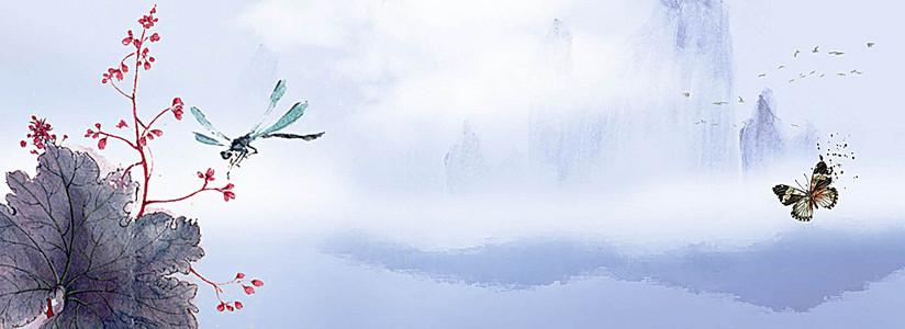 中式水墨群山云雾缭绕背景