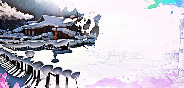 冬季东北旅游宣传海报背景素材