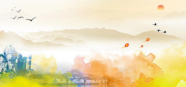 中国风企业文化彩色水墨背景