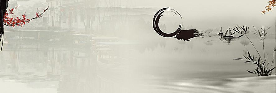 中国风古风水乡海报背景