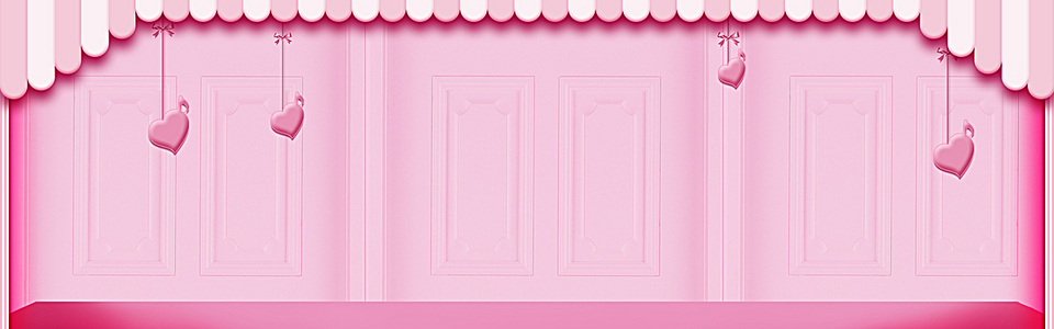 感恩节情人节浪漫童趣粉色背景图
