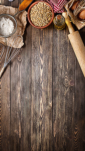 食物木纹木板H5背景