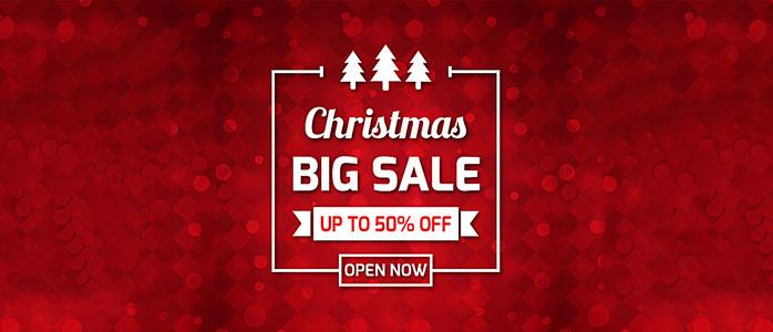 节日红色圣诞节促销电商海报