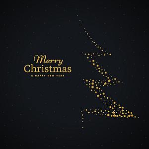 圣诞节浪漫黑色邀请函背景素材