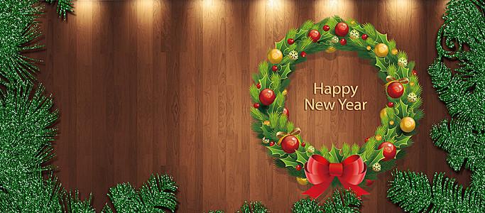 圣诞边框简约木纹背景