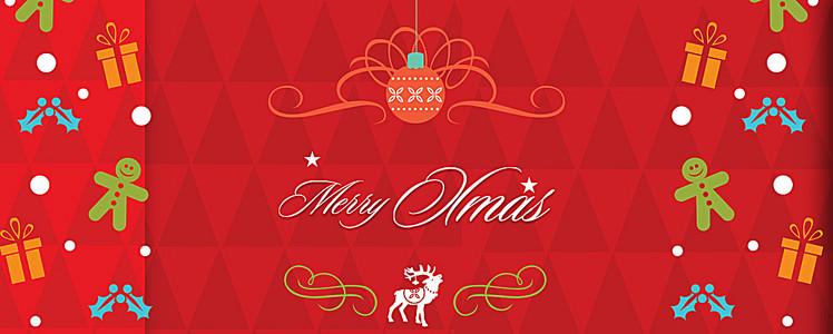 红色几何圣诞节电商背景图
