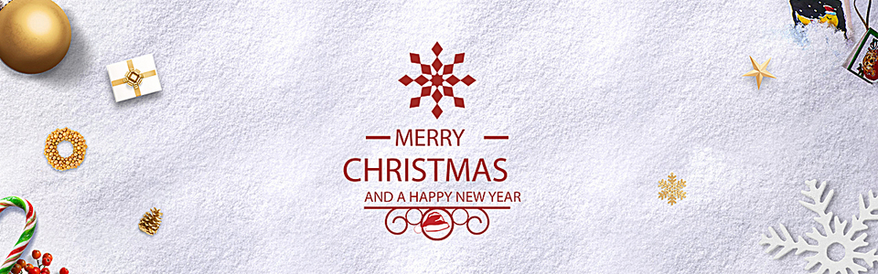 雪地圣诞节白色简约电商海报背景